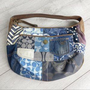 COACH Rare Indigo Denim Patchwork Hobo Bag